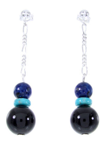 Navajo Sterling Silver Multicolor Bead Post Dangle Earrings AW66828