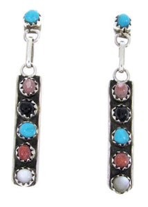 Native American Zuni Jewelry Multicolor Silver Earrings AW66768
