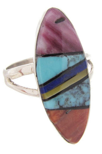 Native American Navajo Multicolor Silver Ring Size 5-1/4 YS69646