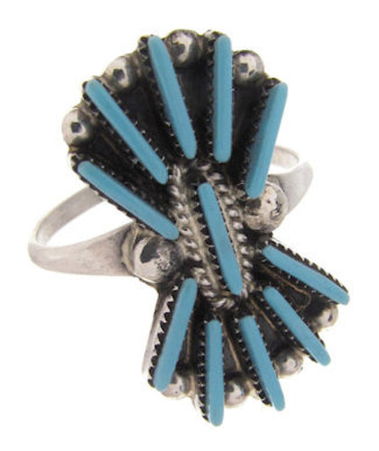 Zuni Indian Jewelry Needlepoint Turquoise Ring Size 5-3/4 DS53352