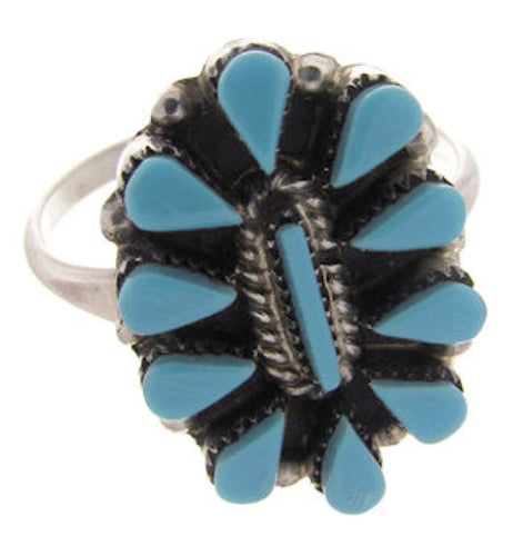 Native American Zuni Indian Jewelry Turquoise Ring Size 6-1/4 AS48470