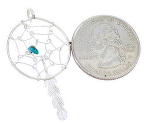 Navajo Sterling Silver Turquoise Dream Catcher Feather Pendant YS71167