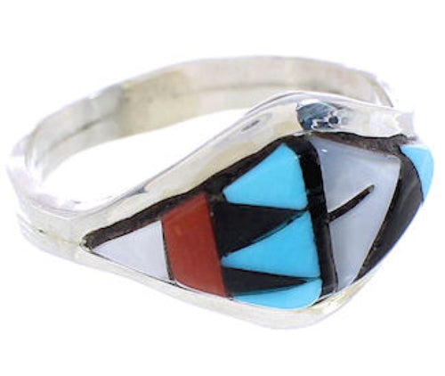 Native American Zuni Silver Multicolor Ring Size 6-3/4 AW75493