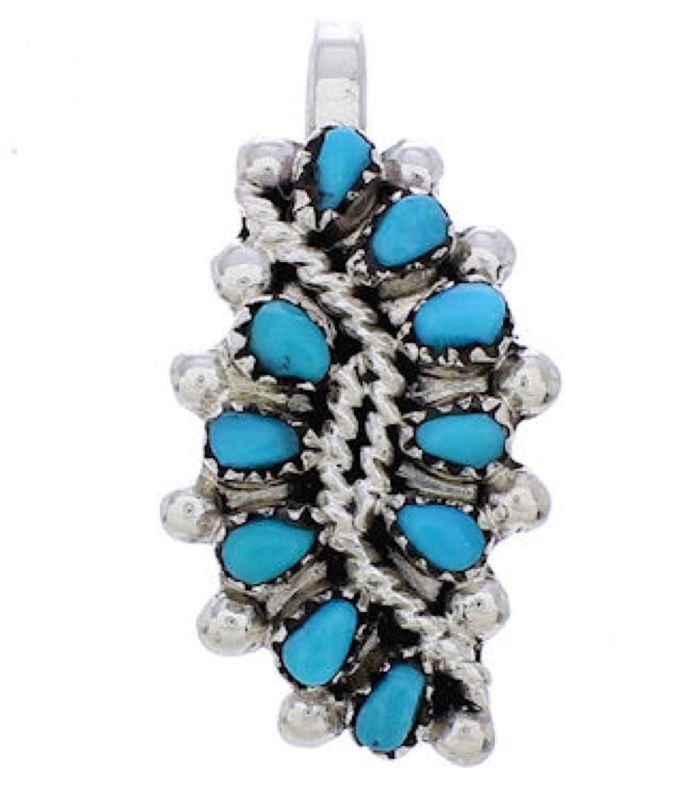 Zuni Jewelry Silver Turquoise Pendant GS76543