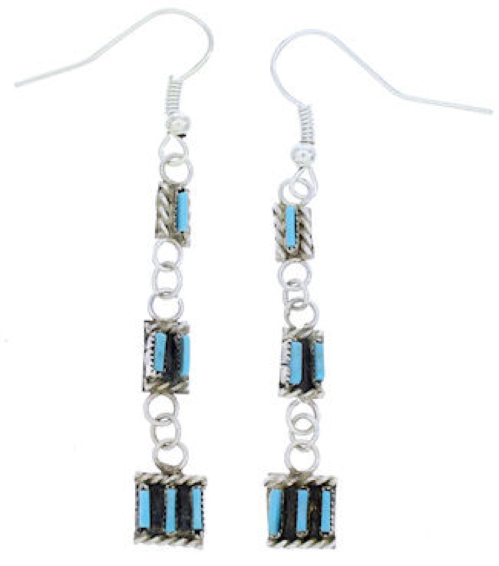 Zuni Indian Jewelry Sterling Silver Turquoise Hook Earrings RS75612