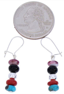 Navajo Multicolor Sterling Silver Bead Earrings Jewelry BW75175