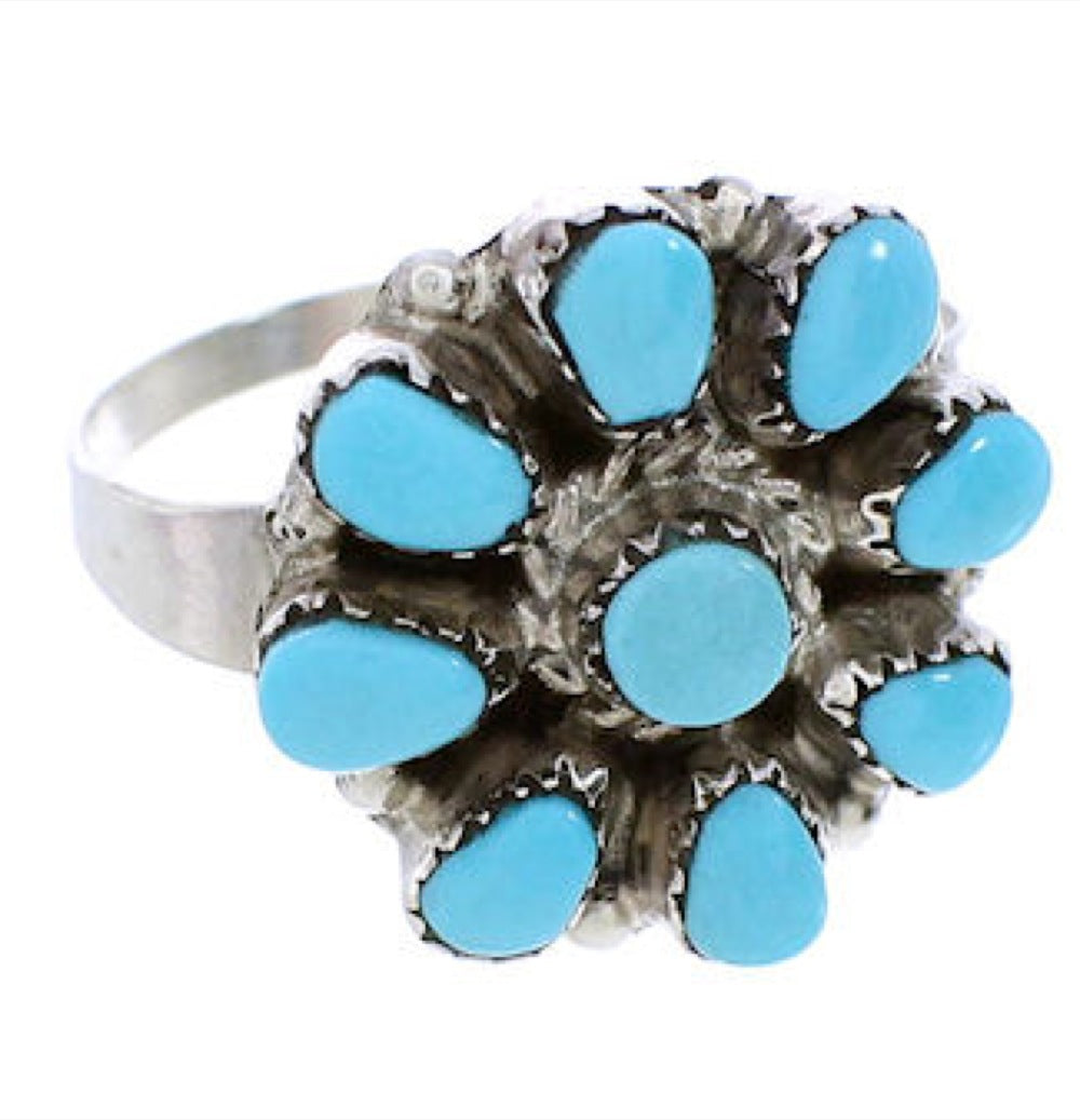 American Indian Jewelry Turquoise And Silver Ring Size 6-1/4 BW76402
