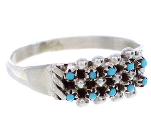 Zuni Native American Turquoise Silver Jewelry Ring Size 8-3/4 BW76407