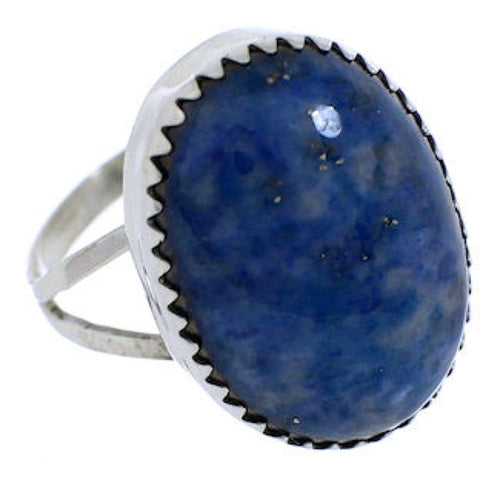 Navajo Denim Lapis And Sterling Silver Ring Size 6-1/4 EX30293