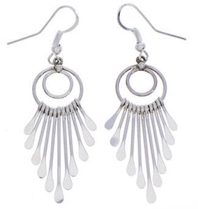 Navajo Genuine Sterling Silver Hook Dangle Earrings EX25375
