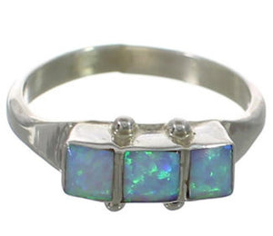 Opal Inlay Zuni Indian Sterling Silver Ring Size 8-1/4 FX26764