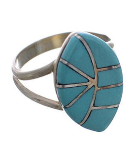 Zuni Indian Turquoise Inlay Jewelry Ring Size 6-1/2 PX25348