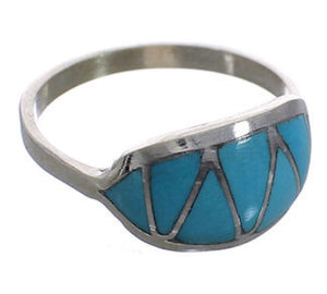 Turquoise Inlay Genuine Sterling Silver Zuni Ring Size 6-1/4 PX25103
