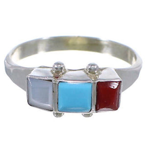Zuni Indian Multicolor Sterling Silver Ring Size 7-3/4 FX27039