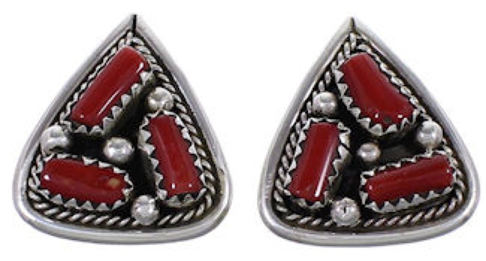 Navajo Indian Jewelry Coral Sterling Silver Post Earrings HS32555