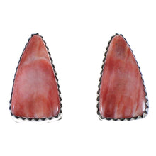 Sterling Silver Red Oyster Shell Native American Post Earrings PX40512
