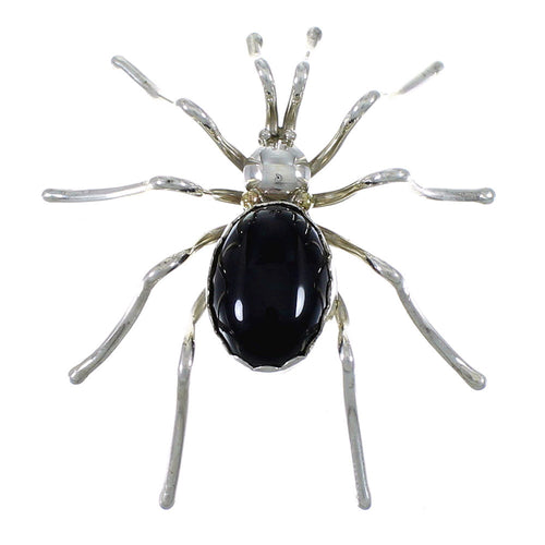 Sterling Silver American Indian Onyx Spider Pin EX46726