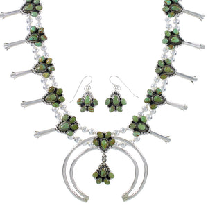 Sterling Silver Turquoise Squash Blossom Southwest Necklace Set RX94264
