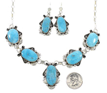 Sterling Silver Kingman Turquoise Navajo Link Necklace Earrings Set AX97967