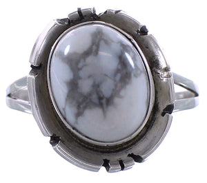 Howlite And Sterling Silver Native American Ring Size 8-1/4 EX27175