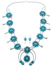 Turquoise Sterling Silver Native American Squash Blossom Necklace Set AX100173