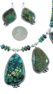Turquoise Navajo Sterling Silver Necklace And Earrings Set AX102157