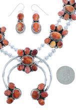 Navajo Oyster Shell Squash Blossom Necklace Set RX102227