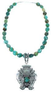 Water Wave Navajo Turquoise Rose Singer Bead Necklace Set AX102587