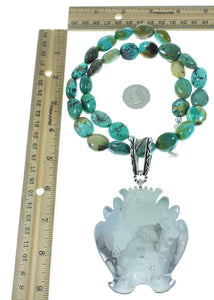 Silver Water Wave Navajo Turquoise Rose Singer Bead Necklace Set AX102587
