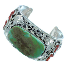 Turquoise And Coral Sterling Silver Navajo Leaf Cuff Bracelet TX104454