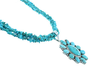 Authentic Sterling Silver Turquoise Navajo 3-Strand Bead Necklace Set SX105011