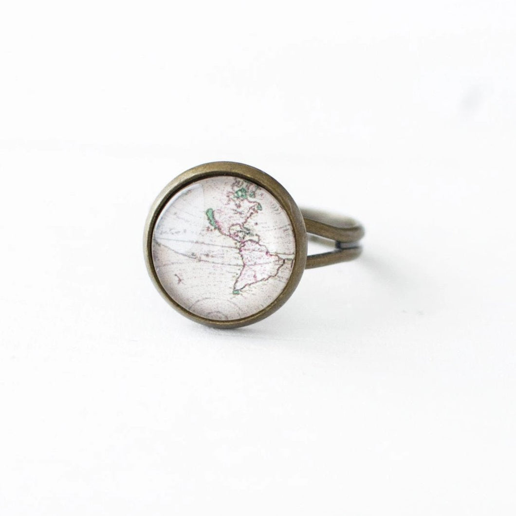 Vintage World Map Ring