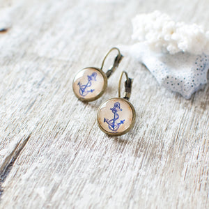 Blue Anchor Earrings