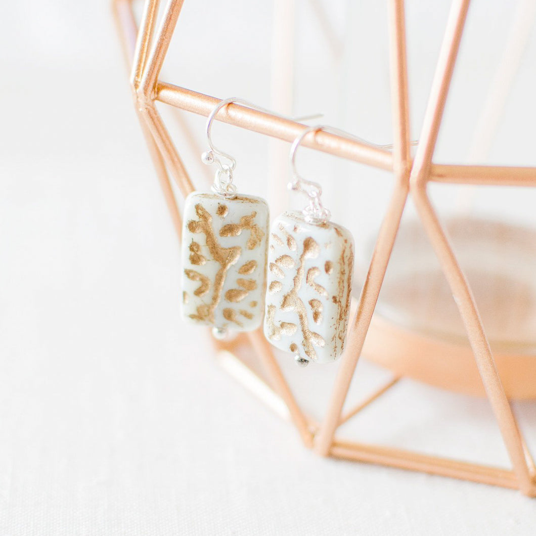 Mint and Gold Rectangle Earrings