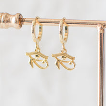 Gold Eye of Horus Hoop Earrings