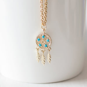 Gold Dream Catcher Necklace
