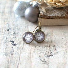 Grey Snowflake Earrings