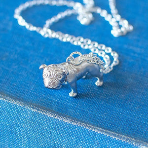 Silver Pug Charm Necklace