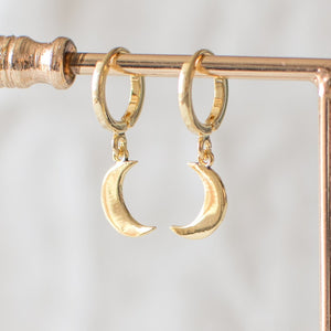Gold Half Moon Hoop Earrings
