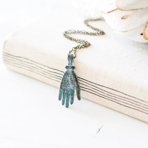 Green Patina Hand Necklace