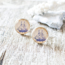 Blue Sailing Boat Cufflinks