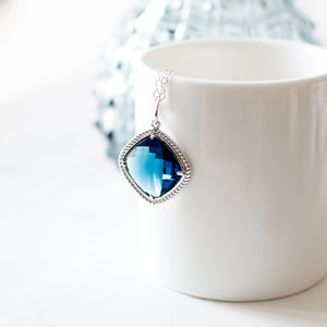 Blue Framed Glass Necklace