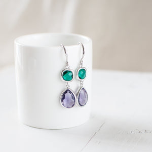 Purple and Emerald Green Glass Earrings