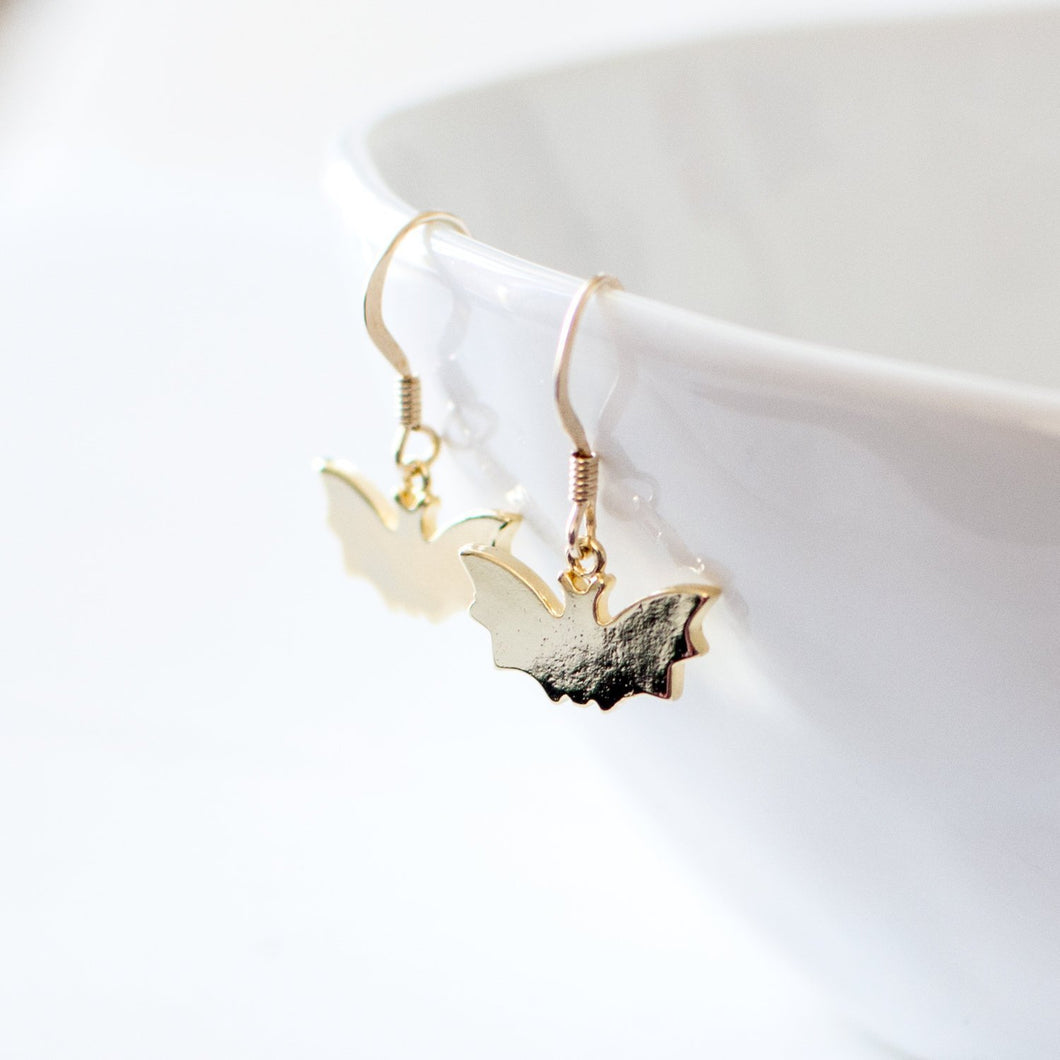 Gold Bat Earrings