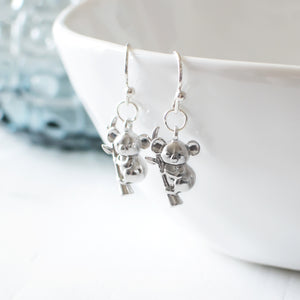 Silver Koala Earrings