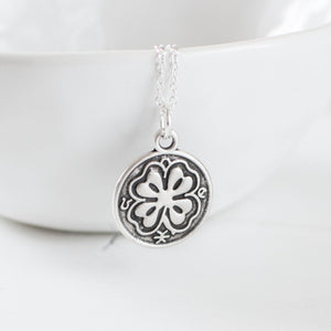 Antique Silver Clover Necklace
