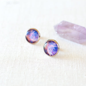 Pink And Blue Galaxy Earrings