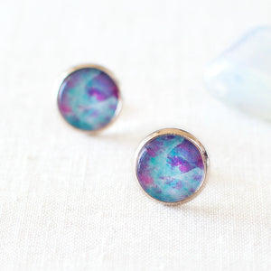 Blue And Magenta Galaxy Earrings