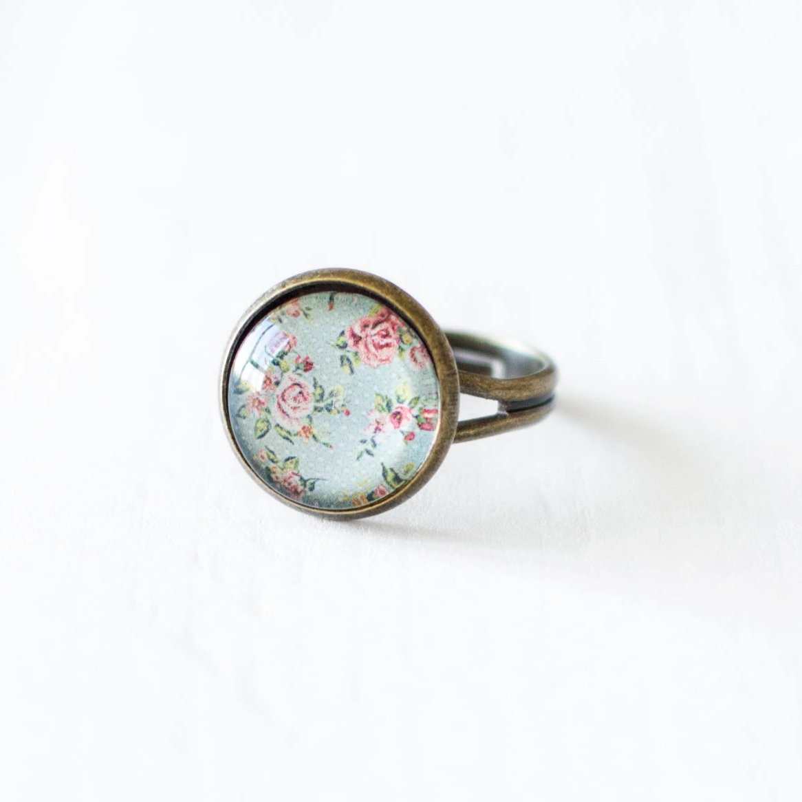 Mint and Pink Rose Ring