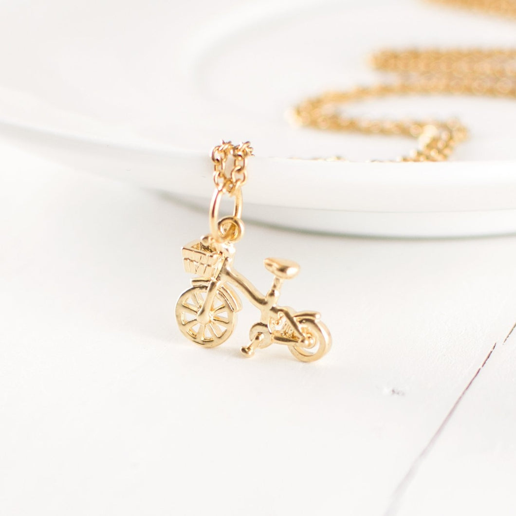 Gold Bicycle Charm Necklace